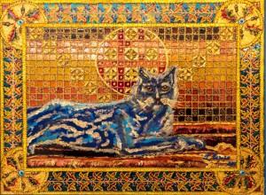 Blue Cat on Orange Background, 2016, glass, paint on glass, authors technique