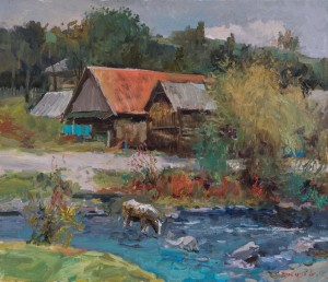 V. Stohut. Through the Stream in Stuzhytsia Village. 2017. oil on canvas, 70x60