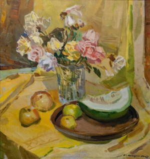 'Still Life With Roses And Melons', 1976, 85x80