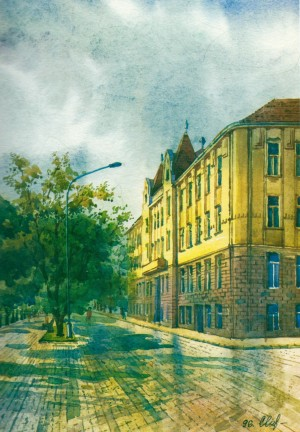 Independence quay. Linguistic gymnasium. watercolour