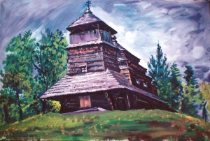 'Kostryno Wooden Church', oil on canvas