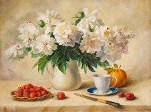 S. Hlushchuk 'Flowers', oil on canvas
