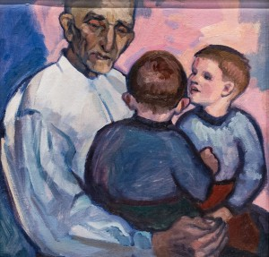 'Grandfather And Grandchildren', 1963, oil on cardboard