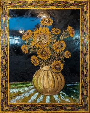 Sunflowers, 2013, glass, paint on glass, authors technique