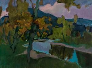 Шандор О., Пейзаж з річкою, 2017, п. о., 60х80