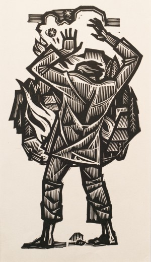 Untitled, linocut printing technique