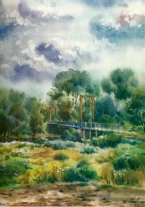 Park Bridge 1996 watercolour