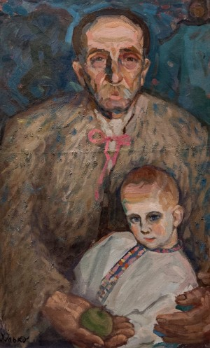 'Grandfather And Grandson. Richka Village', 1960, oil on cardboard, 83x55.5