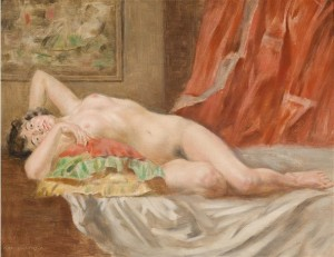 Nude On A Background Of Red Curtains, oil on wood, 27х34,5
