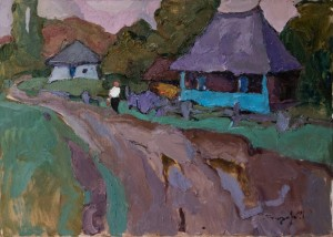 O. Sandor. House in Stuzhytsia Village. oil on canvas, 50x70