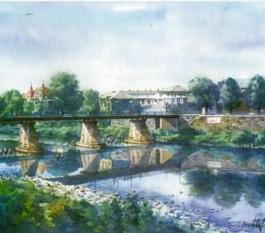 Pedestrian Bridge over the River Uzh 2000 watercolour