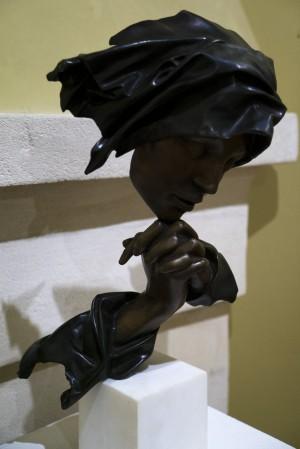 Péter Párkányi Raab Prayer bronze, stone 57х28х26