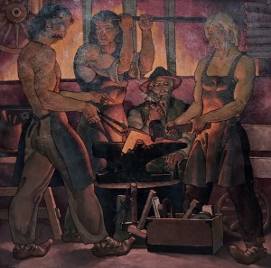 'In The Smithy of Grandfather', 2001, oil on canvas, 87х87
