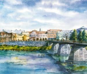 Pedestrian Bridge over the River Uzh watercolour