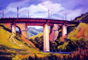 'Bridge In Huklyvyi Village', 2002, oil on canvas