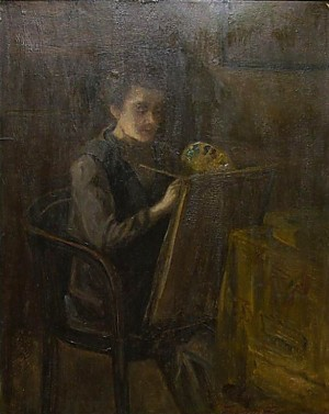 Young Artist, 1930, oil on cardboard, 48x59