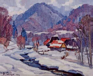 Snow-covered Verkhovyna, 1976, oil on canvas, 75x90
