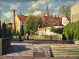 'Uzhhorod. Poshtova Square', 2010, oil on cardboard 45x60