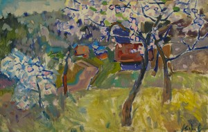 "A. Kopryva ""Blossoming Trees"", 2014, masonite, oil"