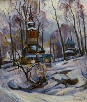 V. Svaliavchyk. Church in Pylypets village, 1996