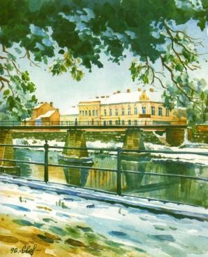 Pedestrian Bridge 1996 watercolour