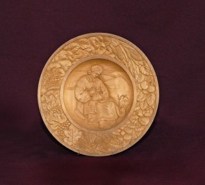 Hutsulka (Embroidery), 1947, decorative plate, wood, carving, bas-relief