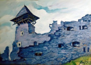 'Nevytskyi Castle', acrylic on canvas