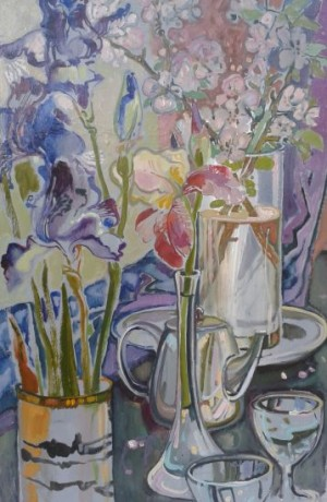 Still life With Irises, 2015. oil on cardboard, 70х44