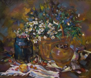 T.Levlias. Still life with cherries