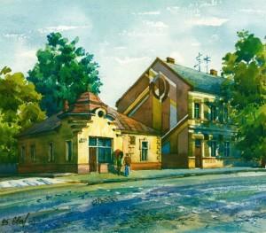 Zhupanatska Square 1995 watercolour