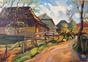 'Autumn In Hertsivtsi Village', acrylic on canvas