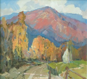 Autumn in Kostrynska Roztoka Village', 2011, oil on canvas, 70x70