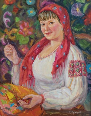 A Woman from Rakhiv , 2016, oil on canvas, 55x70
