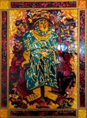 Tosia, 2009, glass, paint on glass, authors technique