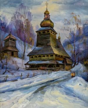 V. Svaliavchyk. The church in Bukovets village, 2002