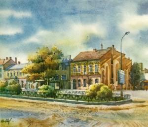 Koriatovych Square (Central Market) watercolour