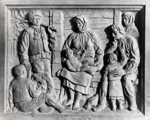 Hutsul Family, 1946, wood, bas-relief