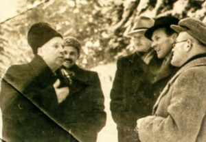 Meeting of the artists. From left to right museum's director, V. Svyda, A. Kotska, Z. Sholtes, G. Gluck, Kaniv, 1954