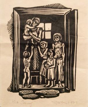 Голод, 1977, ліногравюра