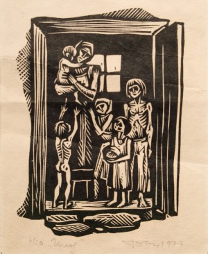 Hunger, 1977, linocut printing technique