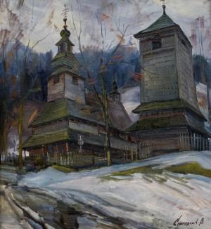 V. Svaliavchyk. The church in Huklyve village, 1992