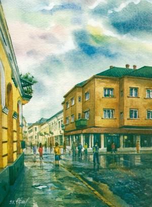 Koriatovych Square 1998 watercolour