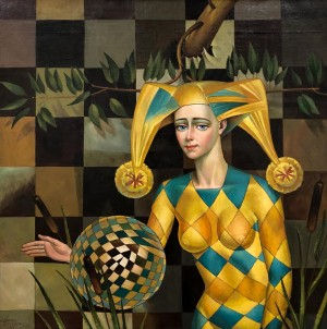 'Chess Harlequin', 2003, oil on canvas, 87x87