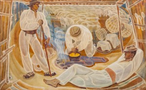 'Shepherd's Dinner', 1970, tempera on canvas, 95x150