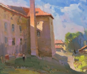In the Courtyard of Uzhhorod Castle, 2016,oil on canvas 48