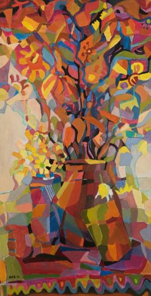 V. Manailo-Prykhodko Sunny Petals , 2016, cardboard, paper, acrylic, oil