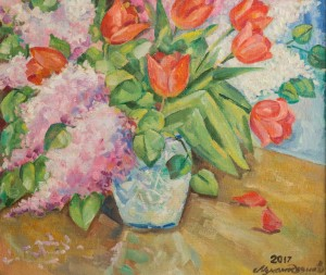 Натюрморт «Бузок і тюльпани», 2017, п.о., 60х70