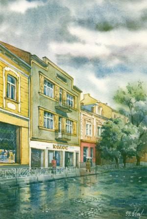 Koriatovych Square 1999 watercolour