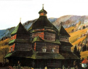 Церква св. Миколая (1655р.) с.Гусний, 1987, 50х60