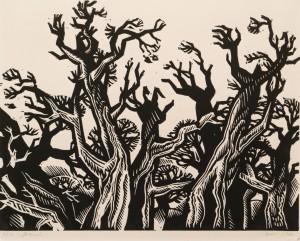 Trees, 1982, linocut printing technique